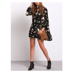 Black Lantern Sleeve Floral Print Shift Dress (105 RON) ❤ liked on Polyvore featuring dresses, floral dresses, flower pattern dress, flower print dress, floral design dresses and shift dress