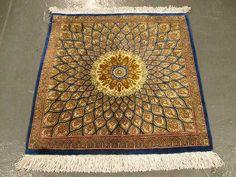Persian Gonbad Silk Quom Rug | 1'7'' X 1'7'' Silk Quom Fine Gonbad Carpet | SIL1586