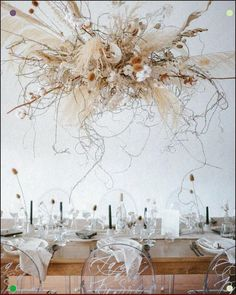 Dried Floral Wedding Installation with Cotton and Pampas Grass. Ghost Chairs Harvest Table and Modern Calligraphy with Minimalist Vibe. Garden Wedding Decorations, Harvest Decorations, Table Decorations, Wedding Centerpieces, Floral Wedding, Wedding Colors, Wedding Flowers, Boho Wedding, Cake Wedding