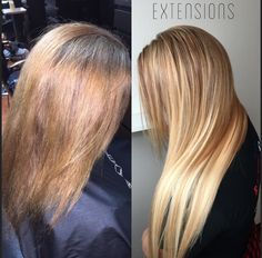 Blonde dimensional hair extensions.