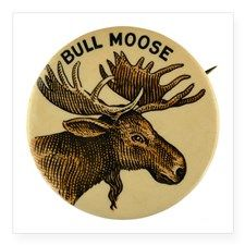 """Bull Moose Party Square Sticker 3"""" x 3"""" for"""