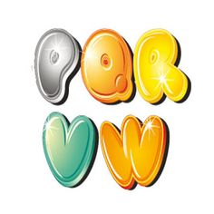 Dibujos letras colores para recortar