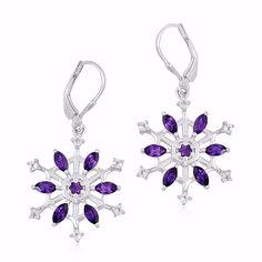 925 Silver Amethyst & White Topaz Snowflake Dangle Earrings Women's Gift Jewelry #Unbranded #DropDangle