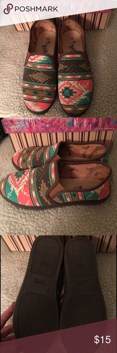 Catchfly slip on shoes Worn one time, excellenct catchfly Shoes Flats & Loafers