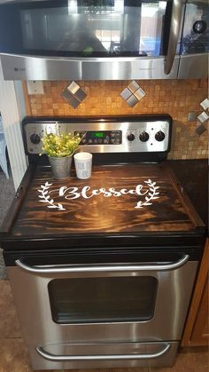 home decor - Stove Top Cover, Custom Wooden Stove Cover Personalized, Wooden Tray For Stove Top New Kitchen, Kitchen Dining, Kitchen Ideas, Kitchen Cabinets, Basic Kitchen, Kitchen Yellow, Kitchen Post, Kitchen Planning, Kitchen Stove