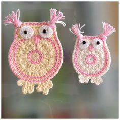 Cute little crochet owl, no pattern Crochet Owls, Crochet Afgans, Crochet Gifts, Crochet Flowers, Crochet Animals, Knit Crochet, Crochet Applique Patterns Free, Crochet Snowflake Pattern, Crochet Motif