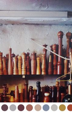 Vintage Danish pepper-grinder collection. Beautiful - at least those of us spice nuts think so.