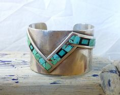 Cool 101 gram Unique Old Pawn Vintage Native American Sterling Silver Wide Cuff w Turquoise and Stone Inlay. Fabulous Large Cuff