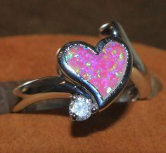 pink fire opal Cz ring Gemstone silver jewelry Sz 8.5 modern heart design D1