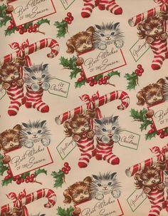 Vintage Christmas Paper Wallpaper Digital by Christmas Paper Crafts, Noel Christmas, Retro Christmas, Christmas Cats, Christmas Decorations, Primitive Christmas, Country Christmas, Christmas Stockings, Vintage Christmas Wrapping Paper