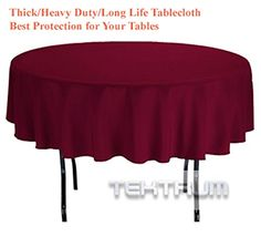 Incroyable TEKTRUM 70 INCH ROUND POLYESTER TABLECLOTH   THICK/HEAVY DUTY/DURABLE  FABRIC (Burgundy
