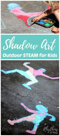 Shadow art outdoor science for kids is a hands-on STEAM activity that will help children learn about the science of shadows while making art.