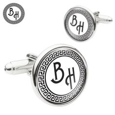 Greek Style Design Cufflinks Monogram Cufflinks Personalized Mens Cufflinks Special Gift for Fathers Groom Husbands GBP) by YourOccasionGifts Father Of The Bride, Gifts For Father, Gifts For Him, Fathers, Handmade Gifts For Men, Monogram Initials, Little Gifts, Special Gifts, Cufflinks