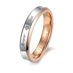 New style fashion ornament exquisite zircon inlaid Titanium steel crystal couple rings -one for women only