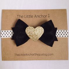 Polka Dot Gold Glitter Heart Felt Bow Headband
