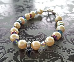 Real Pearl Bracelet Swarovski Crystals Dichroic Glass by STBridal