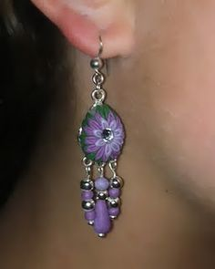 cute purple earrings from boston baked beads.