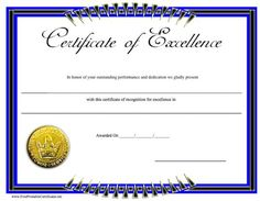 This printable certificate of excellence has a blue and black border and displays a gold seal. Free to download and print