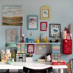 Kristina Klarin's workspace - love the colors!