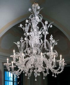 Large classic traditional Murano chandelier L7061K8+4 12 lights clear glass