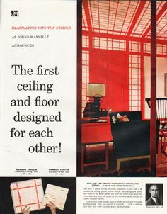 "1961 JOHNS-MANVILLE CEILINGS AND FLOORS vintage magazine advertisement ""designed for each other"" ~ The first ceiling and floor designed for each other! - Imagination hits the ceiling! - Bamboo Trellis - Bamboo Leaves - ""Bamboo"" was created by one of ..."