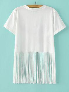 Buy White Eagle Letters Printed Fringe Hem T-shirt from abaday.com, FREE shipping Worldwide - Fashion Clothing, Latest Street Fashion At Abaday.com