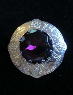 Vintage Scottish kilt brooch pin Celtic knot large purple faceted glass stone silver tone