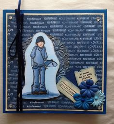 A confirmation-card. Made with Copic Sketch. Confirmation Cards, Copic Sketch, Ants, Scrapbook, Cover, Books, Libros, Ant, Book