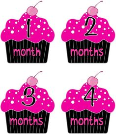 Baby Month Stickers Baby Girl Monthly Onesie Stickers Cupcake by getthepartystarted, $12.00 more baby shower gift ideas at  http://www.etsy.com/shop/getthepartystarted?section_id=6771147