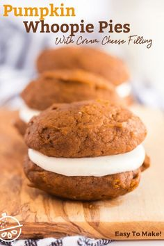 Pumpkin Whoopie Pies made of soft pumpkin spiced cookies filled with fluffy and luscious cream cheese filling. These irresistible cake-like cookies are the perfect fun handheld treat for fall season! #lemonblossoms #fallflavors #cookies #easyrecipe #Thanksgiving #sponsored Pumpkin Whoopie Pies, Pumpkin Spice Cookies, Pumpkin Recipes, Fall Recipes, Holiday Recipes, Easy No Bake Desserts, Delicious Desserts, Keto Desserts, Baking Recipes