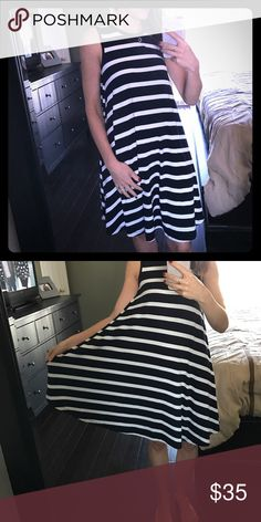Navy & white striped knit dress Navy & white striped dress with loose skirt. Super comfortable and easy to just throw on and go. Great condition as I've only worn this dress twice. Love for summer! The Limited Dresses