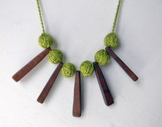 Statement wood necklace. Grass green. Wooden necklace. by ylleanna, €35.00