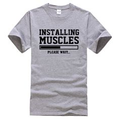 8ccb0595be #funnyshirts INSTALLING MUSCLES Funny Gym Lifting Workout T-Shirt Crossfit  Unisex Tee Men's Funny