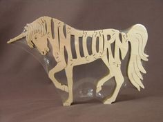 Unicorn Fantasy Horse Puzzle Wooden Toy Hand Cut With Scroll Saw