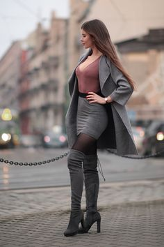 New Stylish Women Winter Over The Knee Boots Thin High Heels Boots Sexy 2019 Sexy Outfits, Sexy Dresses, Cool Outfits, Fashion Outfits, Womens Fashion, Fashion Trends, Fashion Tights, Fashion Inspiration, Style Feminin