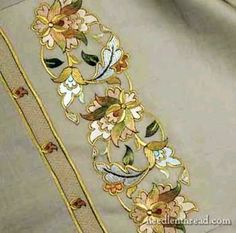 Embroidery with silk threads.