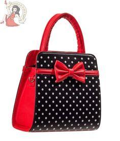 BANNED 50's Carla pois porter épaule sac à main sac noir rouge in Clothes, Shoes & Accessories, Women's Handbags | eBay