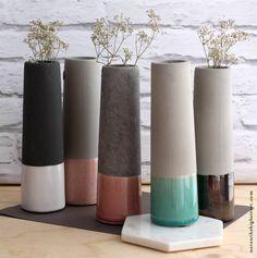 Beton Vasen Selber Machen betonvase kegelförmig dipped in kreide chalky arts and crafts