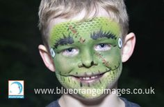 Blue Orange Images facepainting Watford, boy face painted as a #monster