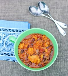 Sweet Potato Chili *** One of my fav recipes from one of my fav sites. Made this one completely as is. Doubled the recipe. Made 9 big servings. 203 calories per serving. *** http://chocolatecoveredkatie.com/2012/01/05/sweet-potato-chili/