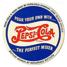 Pepsi-Cola changed their colors to red, white, and blue to support WWII and have yet to change back. So if you find a Pepsi bottle that's just red and white, hang on to it! Pepsi Vintage, Vintage Labels, Vintage Signs, Vintage Ads, Vintage Posters, Vintage Fonts, Graphics Vintage, Vector Graphics, Cola Wars