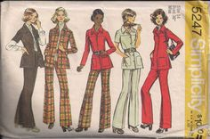 Vintage 70s Sewing Pattern SHIRT-JACKET and PANTS by HoneymoonBus, $7.99