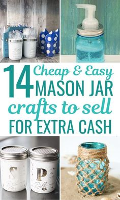 Best mason jar craft ideas to sell for extra money. You will love these creative and easy DIY mason jar business ideas and glass crafts that sell well. Including mason jar candles to sell soap dispenser kitchen decor and more awesome ideas! Mason Jar Seifenspender, Pot Mason Diy, Mason Jar Gifts, Mason Jar Candles, Mason Jar Lighting, Scented Candles, Mason Jar Glasses, Painted Mason Jars, Crafts With Glass Jars