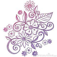 Flores e Doodles esboçado do caderno dos redemoinhos