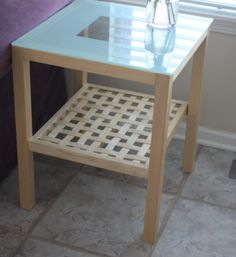 """SOLD - Glass Top Coffee & Side Tables This beautiful birch veneer coffee & side table with etched glass is in excellent condition. Dimensions: Coffee Table - 46 1/2"""" W x 27 1/2"""" D x 19 1/2"""" H Side Tables - 20"""" W x 20"""" D x 24 1/2"""" H www.relovedinteriors.com"""