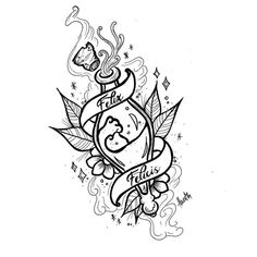 "tattoos - Yes, it's a funny little potion, Felix Felicis,"" said Slughorn ""Desperately tri Harry Potter Sketch, Arte Do Harry Potter, Harry Potter Potions, Harry Potter Drawings, Harry Potter Tumblr, Harry Potter Tattoos, Pencil Art Drawings, Cute Drawings, Imprimibles Harry Potter Gratis"
