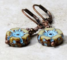 Turquoise Aqua Blue Earrings Dangle Drop Czech Glass Boho