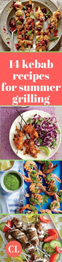 As grilling season kicks into high gear, mix up your usual BBQ spread with these flavorful, fun, and colorful kebabs. Kebab Recipes, Grilling Recipes, Cooking Recipes, Healthy Summer Recipes, Healthy Meals, Dinner Is Served, Easy Food To Make, Cooking Light, Kebabs
