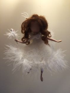 Fairy - angel in a white dress . Bright and elegant decoration for home, for the childrens room, a Christmas tree .... or unusual gift. The color of dress, hair can make your choice.  The height is 14 cm.