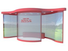 """CURVES  New design of London bus stop/shelter by MB. The bus stop is solar powered. Lights is integrated with warming and cooling system to make you stay warmer in the winter when you are waiting for the bus and stay cooler in the summer. Transparent walls with integrated video screens for commercials and traffic information. Materials: Steel frame with 4"""" /10 cm walls of recycled plastic.  #bus #design #london #stop #shelter #video #traffic #high #tech #architecture #city"""